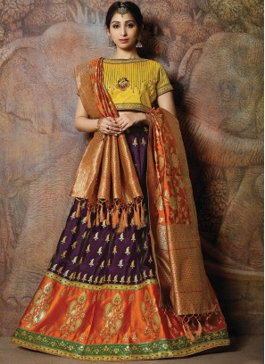 Banarasi Silk Multi Colour Embroidered Designer Lehenga Choli