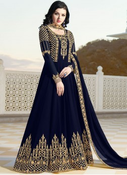Deserving Blue Resham Faux Georgette Floor Length Anarkali Suit