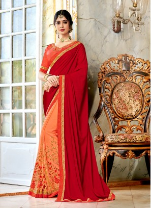 Deserving Embroidered Georgette Half N Half Trendy Saree