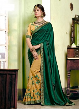 Deserving Embroidered Mehndi Designer Half N Half Saree