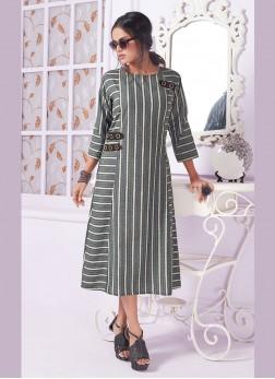Deserving Grey Print Cotton Designer Kurti