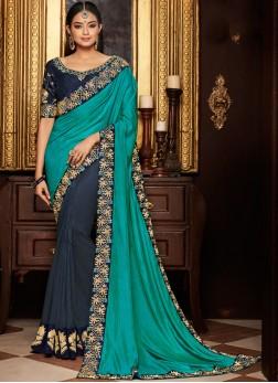Deserving Navy Blue and Sea Green Patch Border Art Silk Designer Half N Half Saree