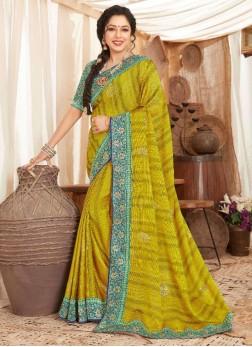 Designer Art Silk Saree With Embroidery Work In Lemon