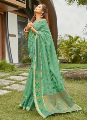 Designer Banarasi Saree On Cotton In Aquamarine
