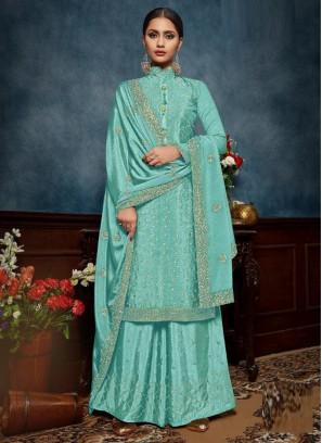 Designer Chinon Sequnecs Salwar Suit With Palazzo In Aque Blue