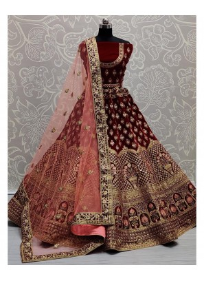 Designer Embroidery A-Line Lehenga Choli In Dark Maroon