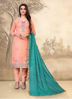 Designer Embroidery Work On Chanderi Salwar Suit In Peach