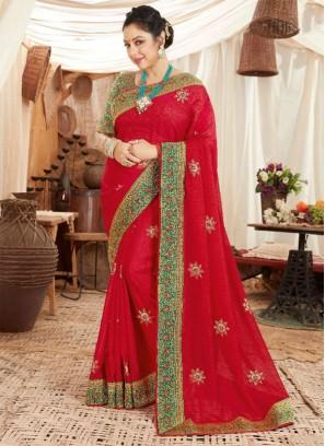 Designer Festival Wear Art Silk Saree In Red