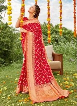 Designer Gold Print Silk Saree In Red