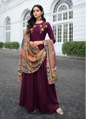 Designer Hand Work On Masleen Salwar Suit In Wine