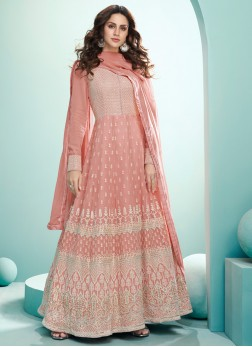 Designer Heavy Embroidery Georgette Gown In Peach
