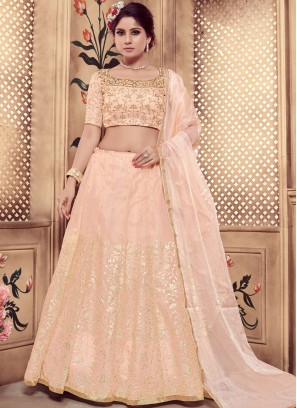 Designer Lehenga Choli Embroidered Organza in Peach