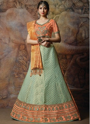 Designer Lehenga Choli Embroidered Silk in Green