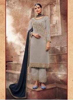 Designer Multi Thread Work Wedding Salwar Suit In Grey