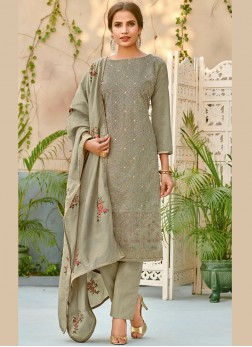 Designer Pakistani Suit Embroidered Chanderi in Grey
