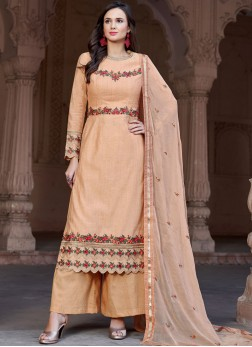 Designer Pakistani Suit Embroidered Fancy Fabric in Peach
