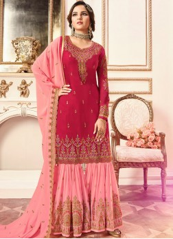Designer Pakistani Suit Embroidered Faux Georgette in Hot Pink