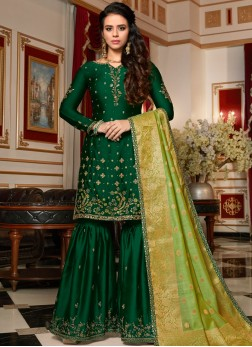 Designer Pakistani Suit Embroidered Georgette Satin in Green
