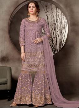 Designer Palazzo Salwar Kameez Embroidered Net in Lavender
