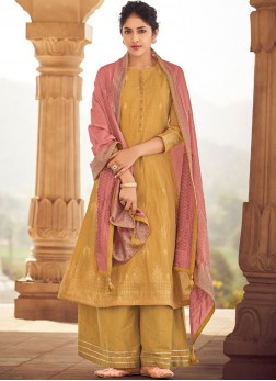 Designer Palazzo Suit Print Fancy Fabric in Mustard