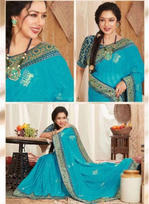 Designer Party Wear Art Silk Saree In Sky Blue