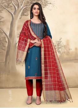 Designer Party Wear Embroidery Salwar Kameez In Teal Blue