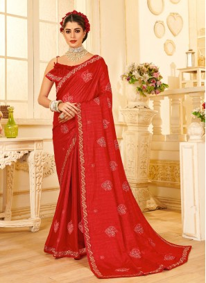 Designer Party Wear Embroidery Saree In Red
