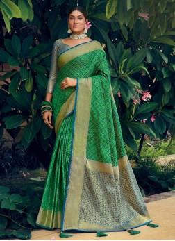 Designer Patan Patola Print Silk Saree In Green