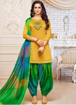 Designer Patiala Suit Embroidered Art Silk in Yellow