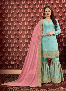 Designer Salwar Kameez Embroidered Georgette in Sea Green