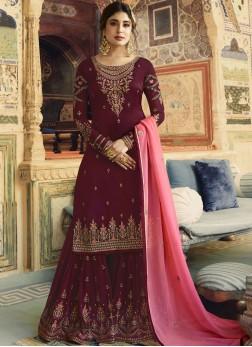 Designer Salwar Kameez Embroidered Georgette Satin in Maroon