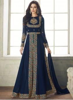 Designer Salwar Kameez Resham Georgette in Blue