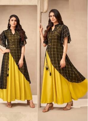 Designer Stitch Patch Work Anarkali Kurti in Yellow - Black