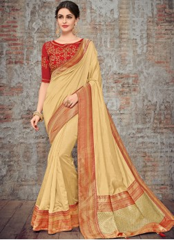 Designer Traditional Saree Woven Art Silk in Beige