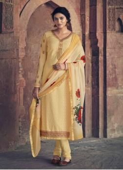 Designer Wedding Embroidery Work Churidar Salwar Suit In Cream