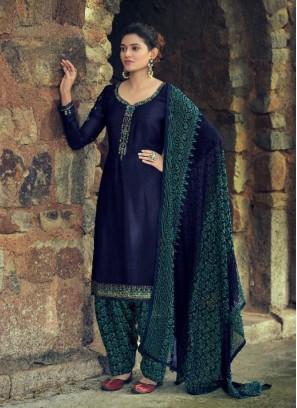 Designer Zari Embroidery Salwar Suit In Navy Blue