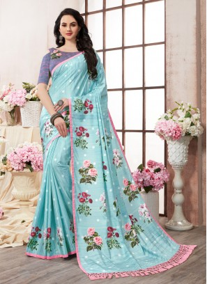 Desirable Abstract Print Multi Colour Printed Saree
