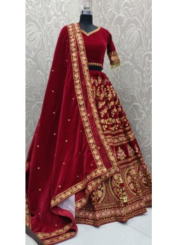 Desirable Patch Border Maroon Velvet Bridal Lehenga Choli