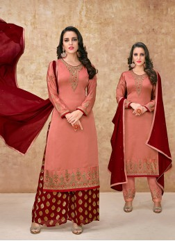 Desirable Resham Peach Designer Suit