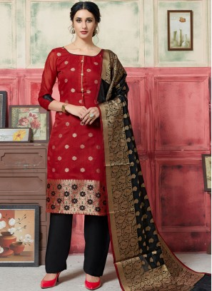 Desirable Weaving Jacquard Silk Maroon Designer Suit