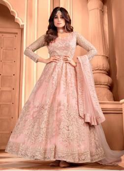 Dexterous Peach Butterfly Net Designer Gown With Dupatta