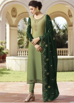 Diamond Georgette Satin Pant Style Suit in Green
