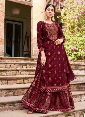 Different Work Indian Ethnic Wear Lehenga Style Suit In Maroon