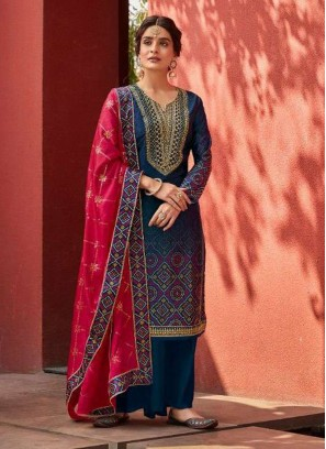 Digital Print Embroidery Salwar Suit With Palazzo In Grey - Red