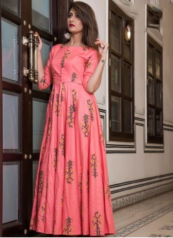 Digital Print Muslin Party Wear Kurti in Pink