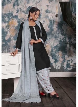 Digital Print Salwar Suit In Black - Grey