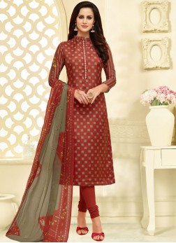 Dignified Chanderi Cotton Casual Churidar Suit