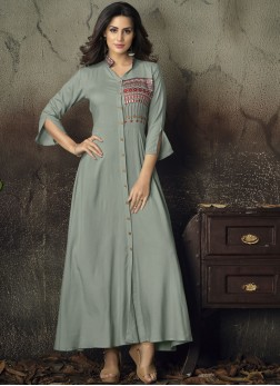 Dignified Rayon Party Party Wear Kurti