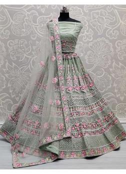 Dignified Tread - Zari Work On Net Bridal Lehenga Choli In Pista