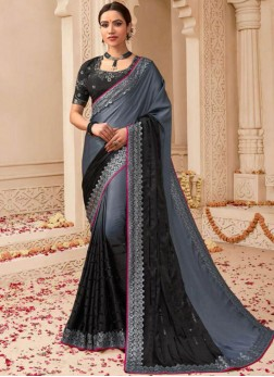 Dilettante Black and Grey Weaving Art Silk Shaded Saree